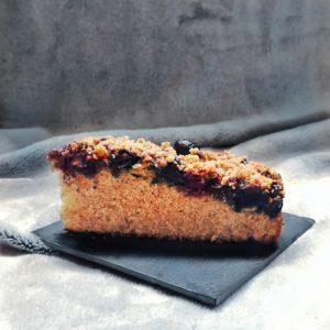 Recette : gâteau aux myrtilles & crumble praliné